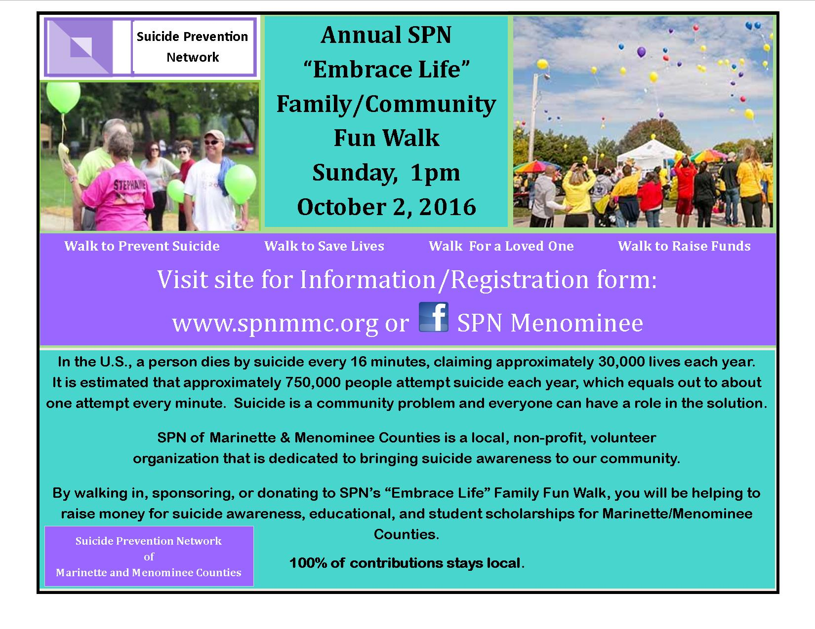 "Annual SPN ""Embrace Life"" Family/Community Fun Walk Sunday, 1pm October 2, 2016"